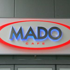 Обемни букви Mado от неръждавейка с ореолно светене