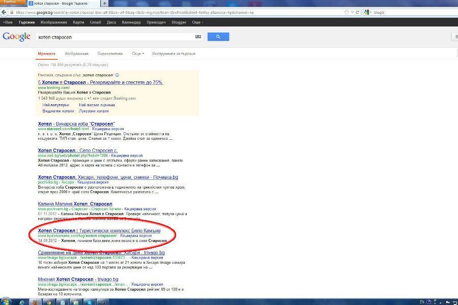 Позиция на сайта на Бяло Камъне в Google