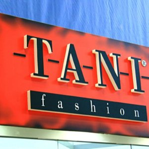 Composite panel sign with embedded channel letters for Tani Fashion
