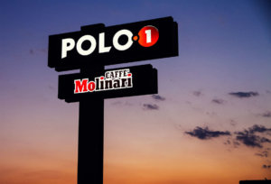 Led illuminated totem Polo1 and Caffe Molinari