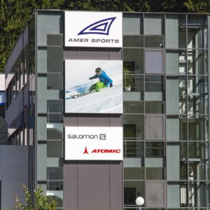 Amer Sport received illuminated sign with day/night effect