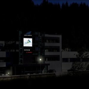 Illuminated sign Amer Sport with day/night perfo film