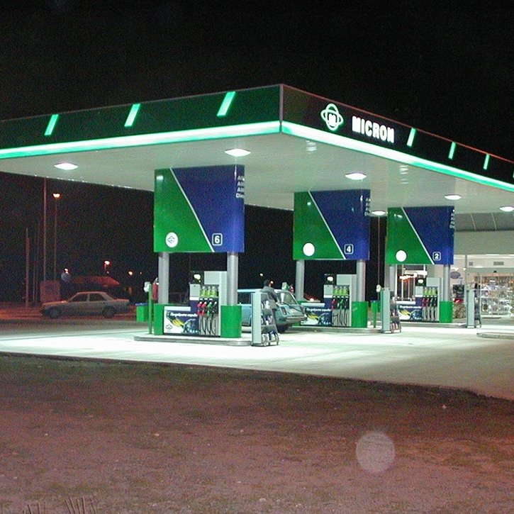 Oil station Micron with illuminated advertising elements