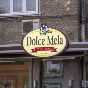 Dolce Mela sign with LED lighting