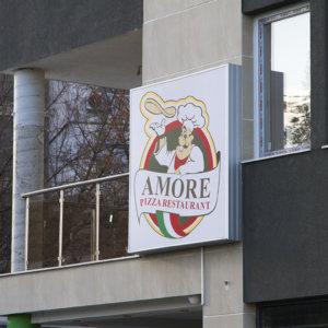 Светеща табела с винил - Amore Pizza restaurant