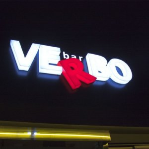 Bar Verbo with illuminated acrylic channel letters