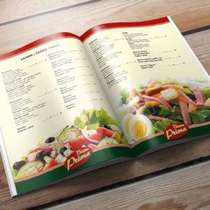 Бистро Prima - дизайн и изработка на меню