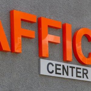 Orange acrylic channel letters Traffic Center