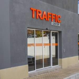 Traffic Center channel letters orange acrylic