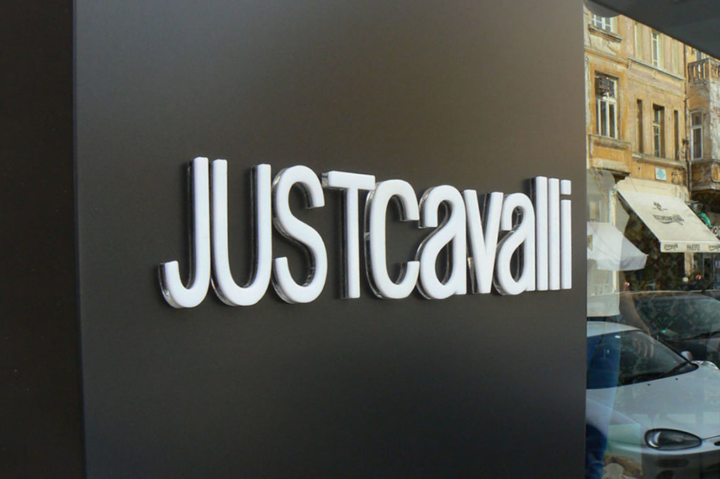 Sandwich letters - Embossed channel letters Just Cavalli for Mito store