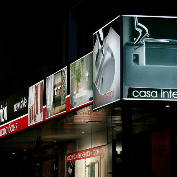 12 meters-long illuminated sign – Casa Interiori