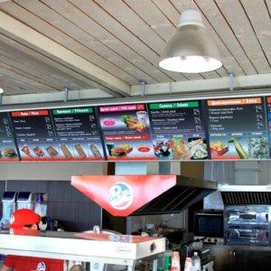 Lasting illuminated handing menu with aluminum sign systems