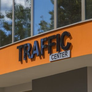 Black acrylic letters Traffic SOT center
