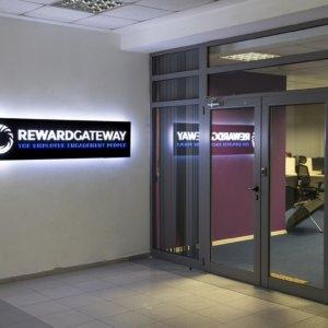 Illuminated interior sign for Reward Gateway