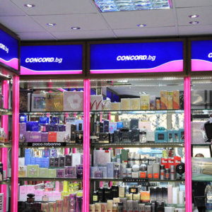 Sign making company Media Design manufactured attractive shelves for Concord Perfumery