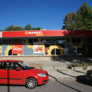T-market Sofia - advertising signs with aluminum profiles and vinyl banner