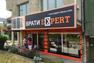 Врати Expert София, брандиране на магазин с табели, фолио, еталбонд