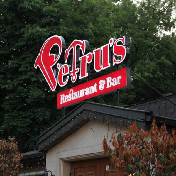 Restaurant&Bar Petrus Sofia with illuminated letters