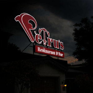 Illuminated advertising for Petrus Restaurant & Bar