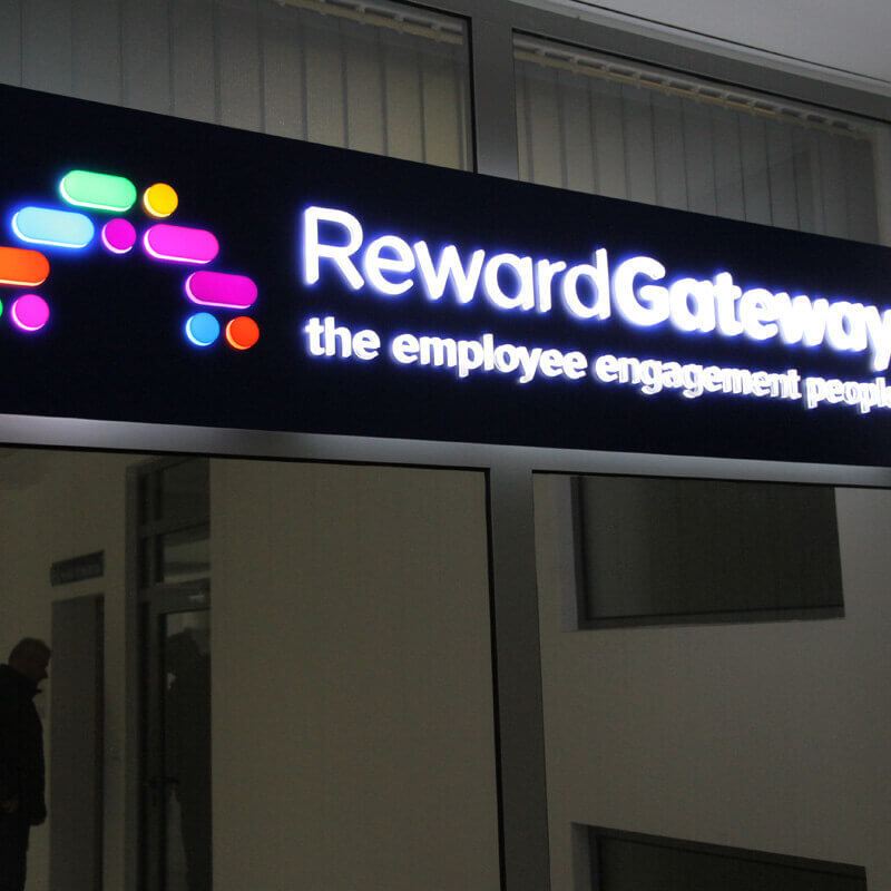 RewardGateway – illuminated acrylic sign