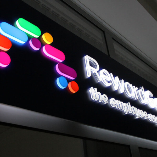 Acrylic sign with embossed letters RewardGateway