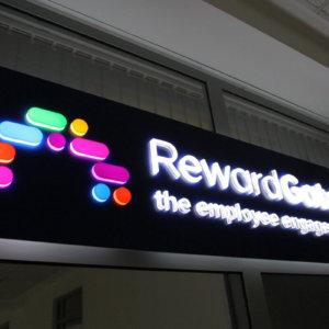 Illuminated acrylic sign for RewardGateway