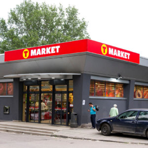 T-market Sofia Dianabad branded with illuminated corner sign