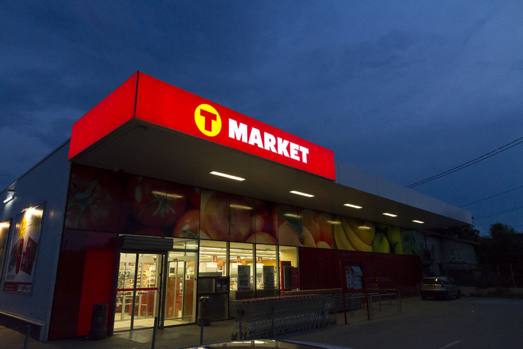 Illuminated flexible face sign for T-market Sofia Dianabad