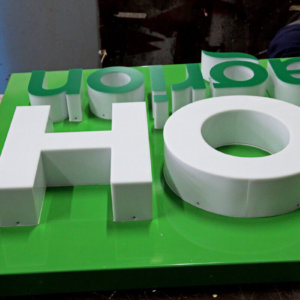 Acrylic channel letters on composite panel sign