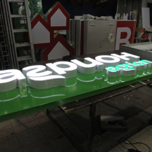 Illuminated acrylic channel letters for Agrion Sofia
