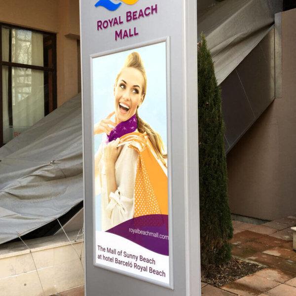 Attractive illuminated totem for Royal Beach Mall Sunny Beach
