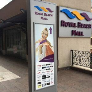 Illuminated advertising totems for Royal Beach Mall Sunny Beach
