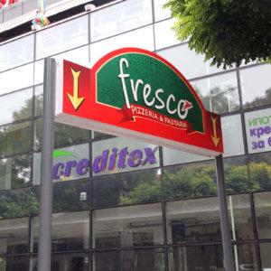 Illuminated sign Fresco, Plovdiv - Media Design