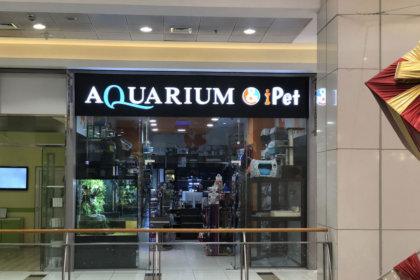 Светещи обемни букви на входа на Aquarium МОЛ София