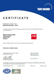Certificate ISO 9001 Media Design for production of light scripts