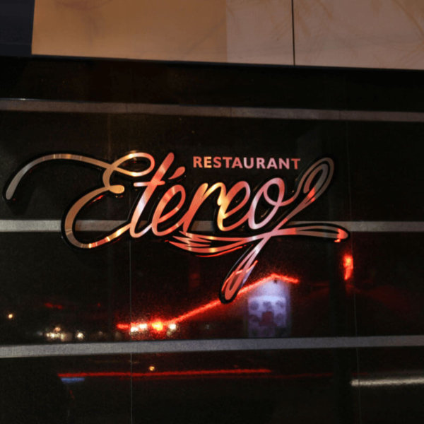 Restaurant Etereo - embossed channel letters with acrylic and inox