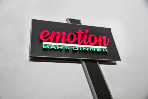 Emotion bar & dinner totem from etalbond and letters from acrylic