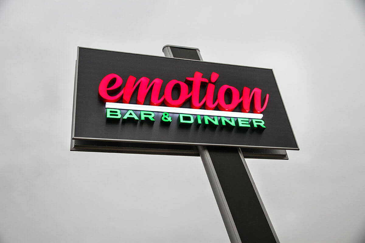 Emotion bar & dinner тотем от еталбонд, с букви от плексиглас
