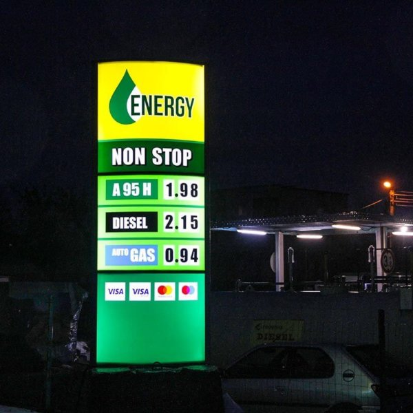 Illuminated totem for gas station Energy Oil with LED modules SloanLED PosterBox 3