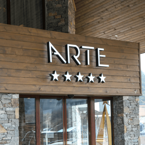 Hotel Arte channel letters with LED illumination