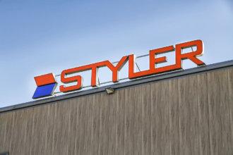 Oбемни букви на покрива на производствената база на Styler