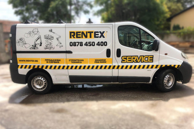 Opel Vivaro wrapping with Rentex advertising lettering