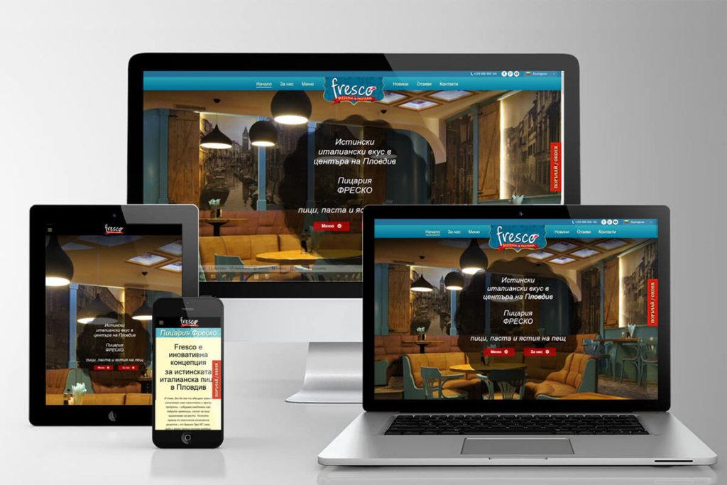 SEO, дизайн и изработка на уеб сайт за пицария Fresco