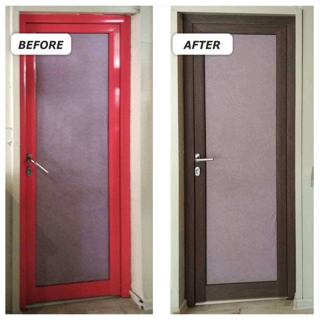 Wrapped vinyl doors - Before and After