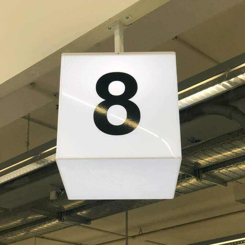 Светеща кутия с номер на каса за магазин интериорна реклама