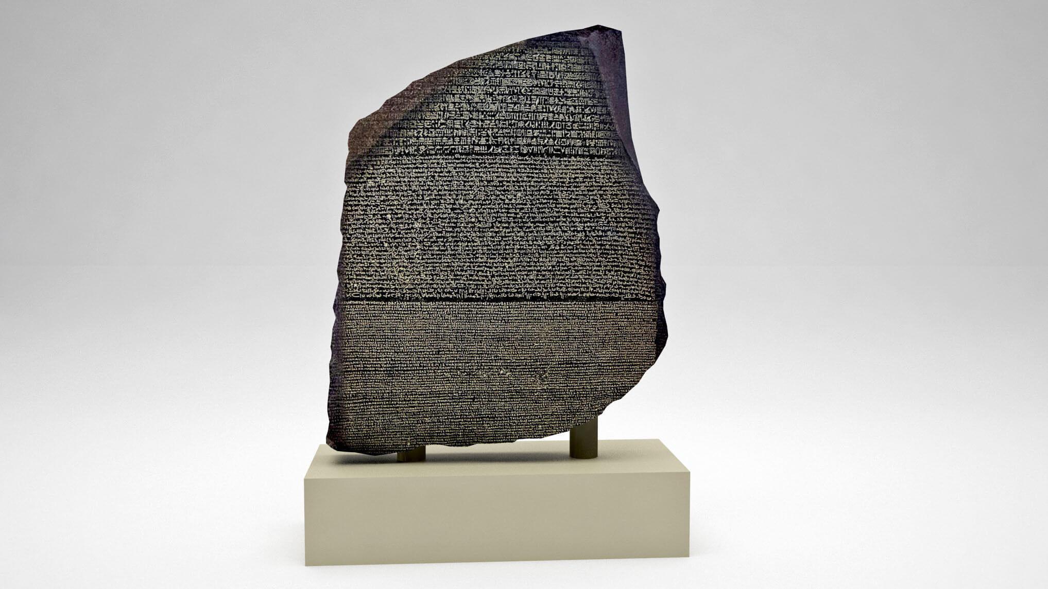 The rosette stone that helped translate Egyptian hieroglyphs